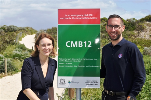 BEN sign for media- Mayor Keri Shannon with Surf Life Saving Coordinator, Nick Pavy..jpg